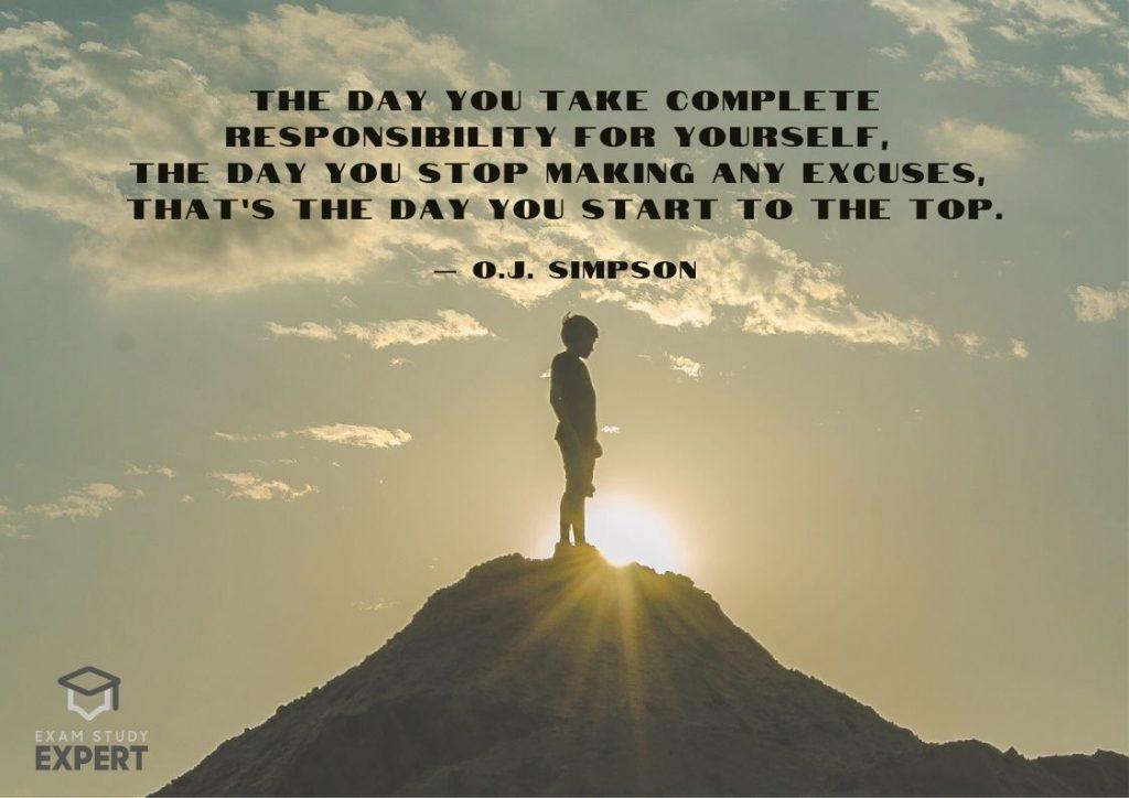 Study motivation quote #22 (OJ Simpson) - mountain top background