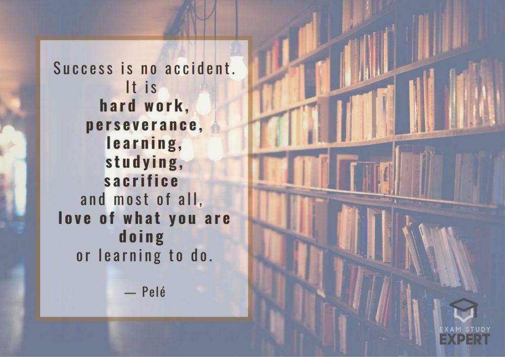 Study motivation quote #1 (Pelé) - library background